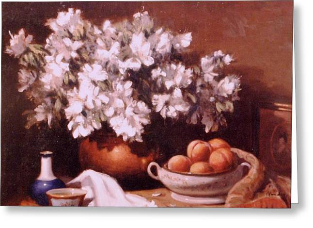 Peaches And Flowers Greeting Card by David Olander