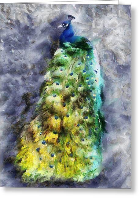 Peacock Portrait Greeting Card by Jai Johnson