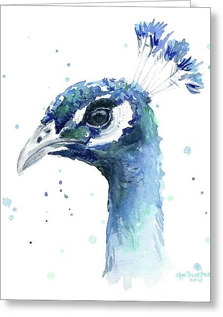 Peacock Watercolor Greeting Card
