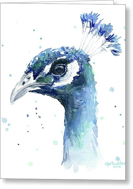 Peacock Watercolor Greeting Card by Olga Shvartsur