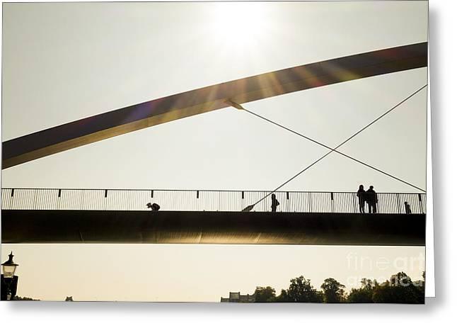 Pedestrian Bridge At Sunset Greeting Card