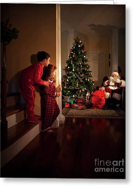Peeking At Santa Greeting Card