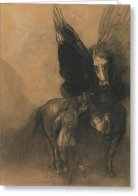 Pegasus And Bellerophon Greeting Card by Odilon Redon
