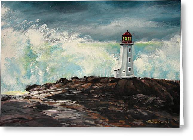 Peggy's Cove Lighthouse Hurricane Greeting Card by Patricia L Davidson