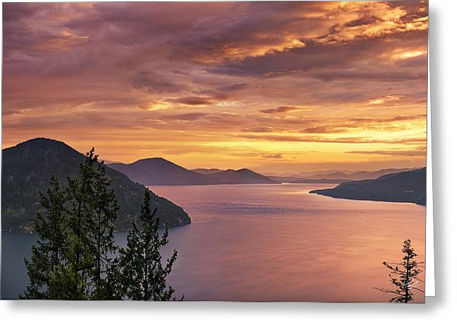 Pend Oreille Sunrise Greeting Card by Leland D Howard