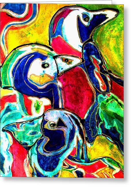 Penguins In Color Greeting Card
