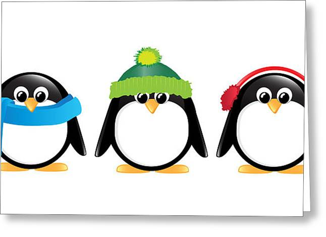 Black Scarf Greeting Cards - Penguins isolated Greeting Card by Jane Rix