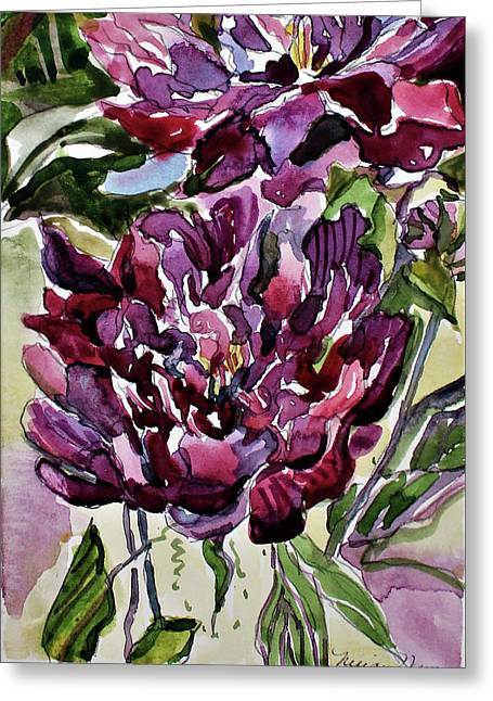 Greeting Card featuring the painting Peonies by Mindy Newman