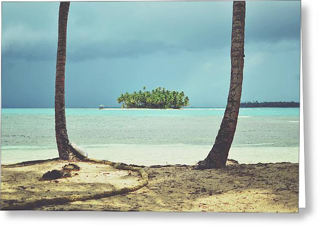 Perfect Tropical Paradise Islands With Turquoise Water And White Sand Greeting Card