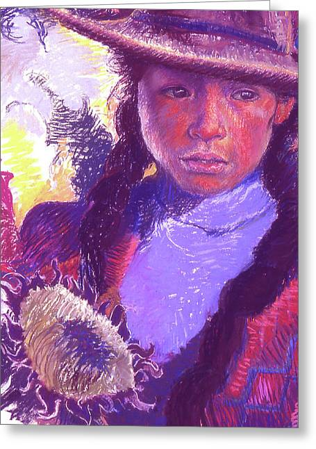 Peruvian Girl With Sunflower Greeting Card