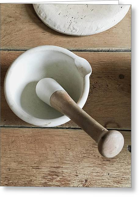 Pestle And Mortar Greeting Card by Tom Gowanlock