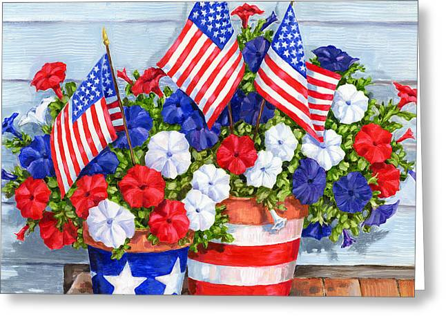 Petunias And Flags Greeting Card by Paul Brent