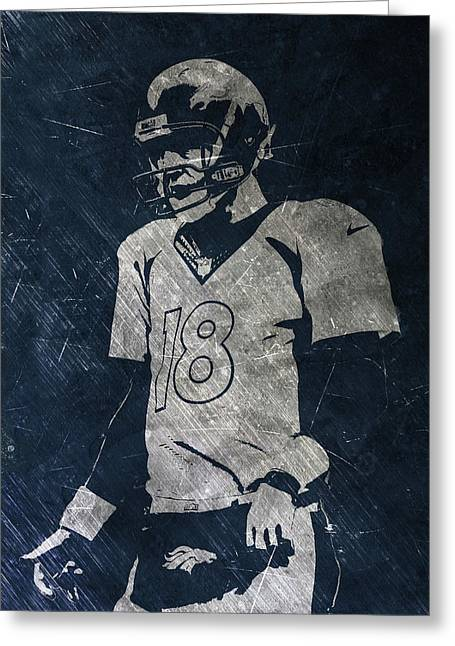 Peyton Manning Broncos Greeting Card by Joe Hamilton