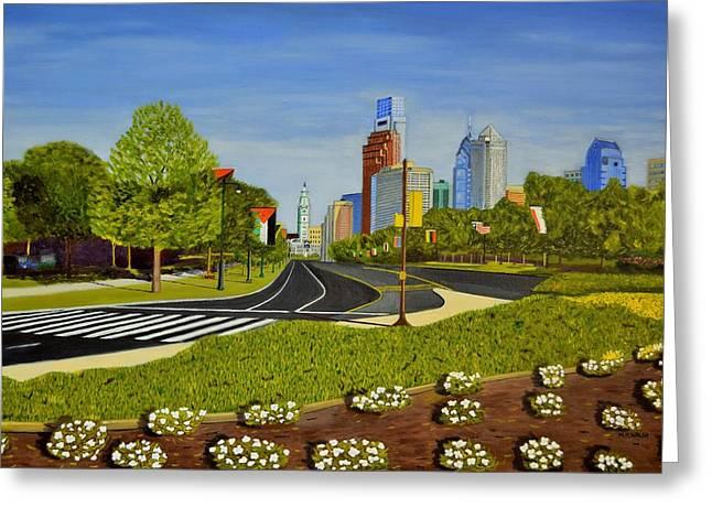 Philadelphia Skyline Greeting Card by Michael Walsh