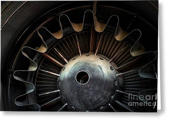 Photo Of A Jet Engine Greeting Card by Anna Vaczi