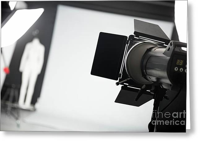 Photo Studio With Lighting Equipment. Greeting Card