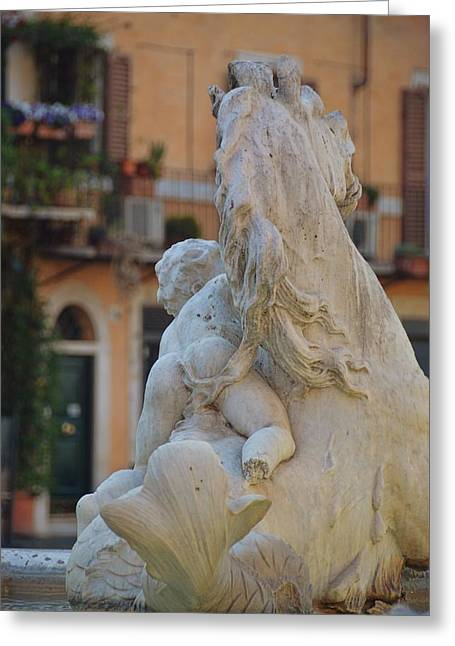 Piazza Fountain Views Greeting Card by JAMART Photography