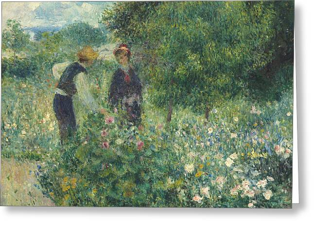 Picking Flowers Greeting Card by Pierre Auguste Renoir