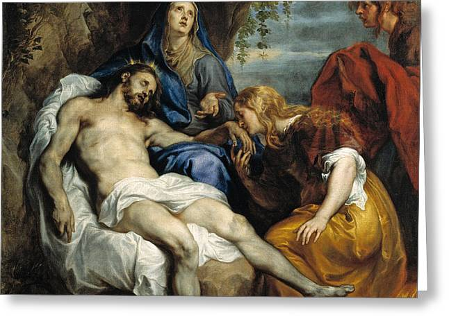 Pieta Greeting Card by Anthony van Dyck