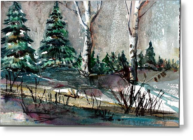 Pine Forest Greeting Card by Mindy Newman