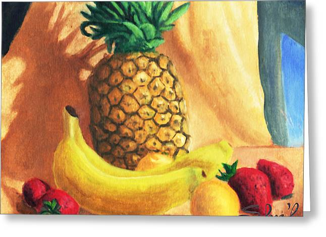 Greeting Card featuring the painting Pineapple Delight by Sherl