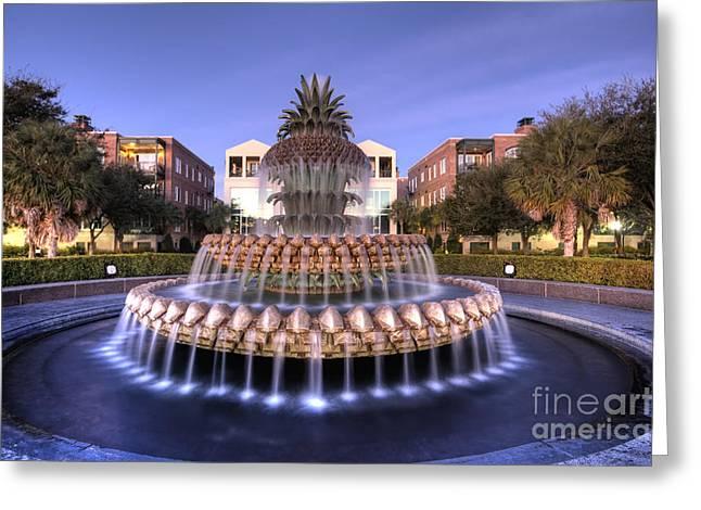 Pineapple Fountain Charleston Sc Sunrise Greeting Card by Dustin K Ryan