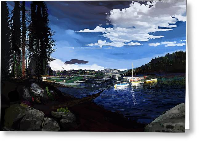 Pinecrest And Boats Greeting Card by Brad Burns