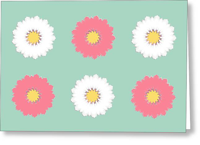 Greeting Card featuring the digital art Pink And White by Elizabeth Lock