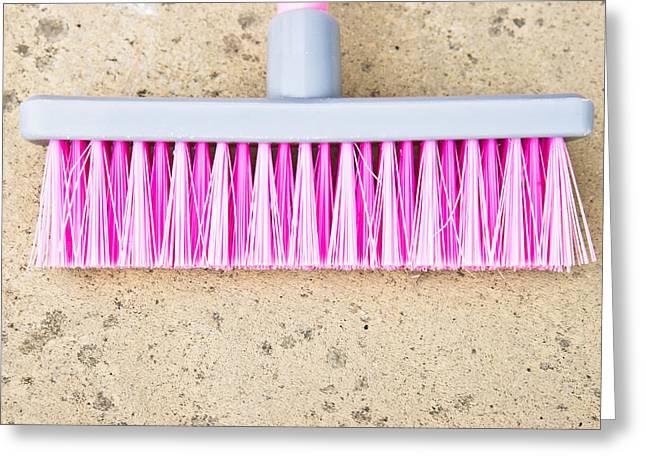 Pink Broom Greeting Card