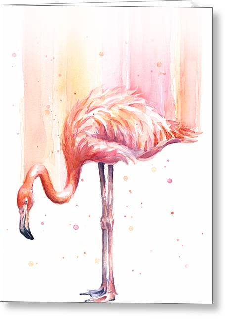 Pink Flamingo - Facing Right Greeting Card by Olga Shvartsur