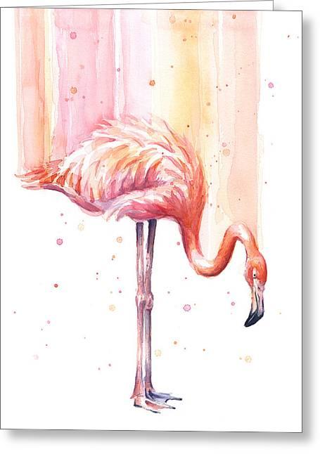 Pink Flamingo - Facing Right Greeting Card