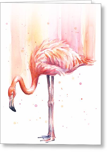 Pink Flamingo Watercolor Rain Greeting Card by Olga Shvartsur