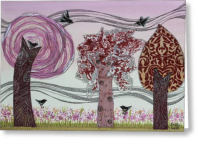 Pink Grove Greeting Card by Graciela Bello
