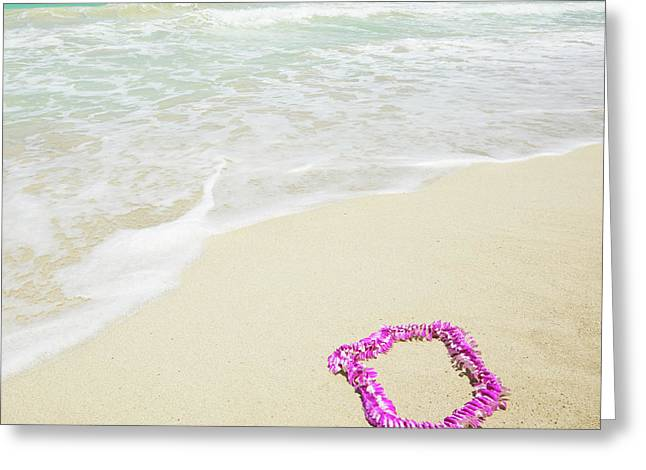 Pink Lei On Beach - Hipster Photo Square Greeting Card