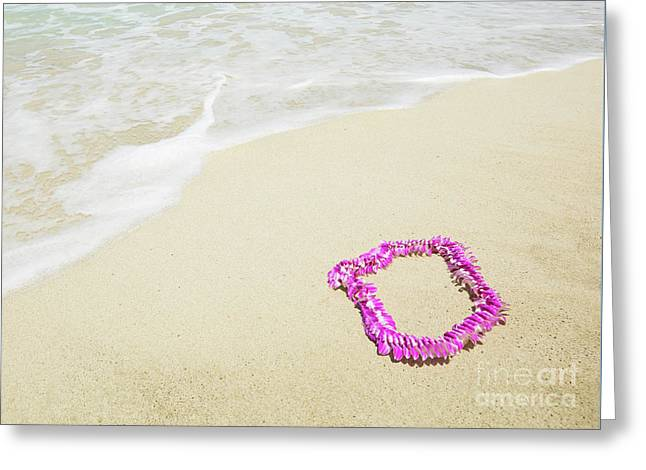 Greeting Card featuring the photograph Pink Lei On Beach - Hipster Photo Square by Charmian Vistaunet
