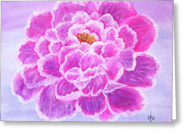 Greeting Card featuring the painting Pink Peony by Sonya Nancy Capling-Bacle