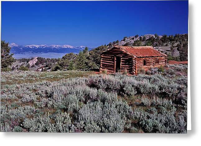 Pioneer Cabin Greeting Card by Leland D Howard