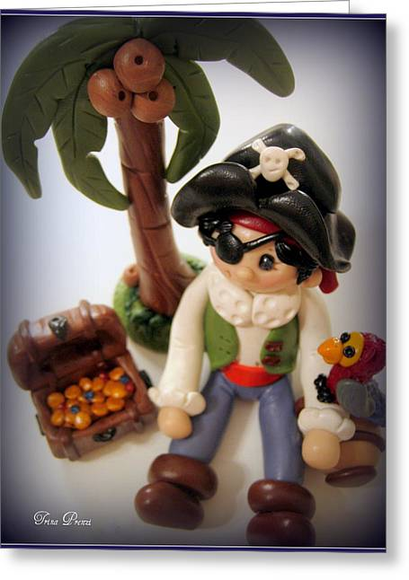 Pirate Scene Greeting Card by Trina Prenzi