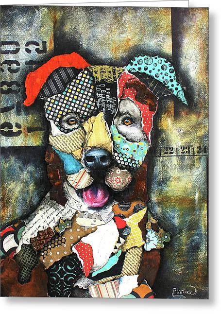 Pit Bull Greeting Card by Patricia Lintner