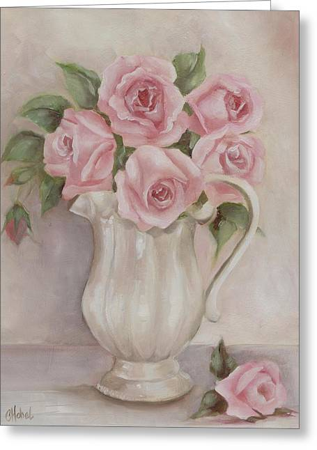 Pitcher Of Roses Greeting Card