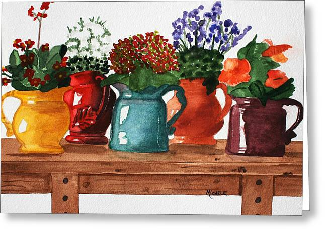 Pitchers In Bloom Greeting Card