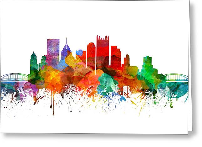 Pittsburgh Pennsylvania Skyline 19 Greeting Card by Aged Pixel
