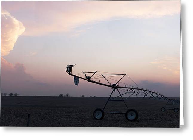 Pivot Irrigation And Sunset Greeting Card