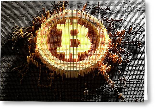Pixel Bitcoin Concept Greeting Card by Allan Swart