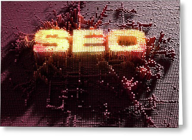 Pixel Seo Concept Greeting Card by Allan Swart