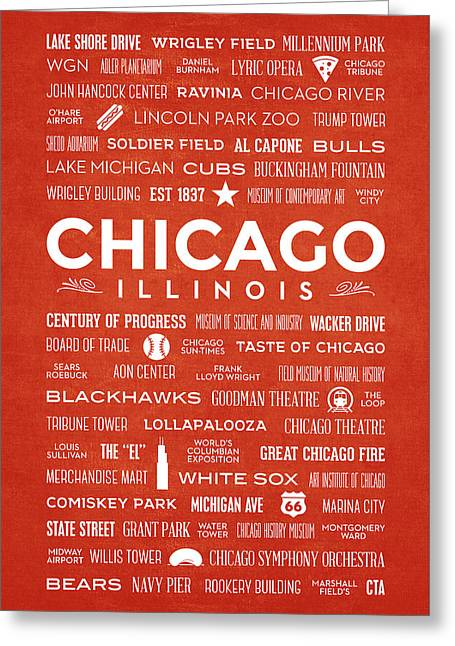 Greeting Card featuring the digital art Places Of Chicago On Orange Chalkboard by Christopher Arndt