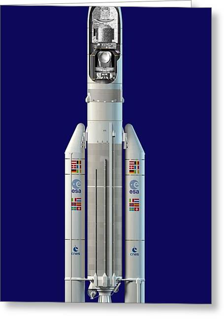 Planck And Herschel Rocket, Artwork Greeting Card by David Ducros