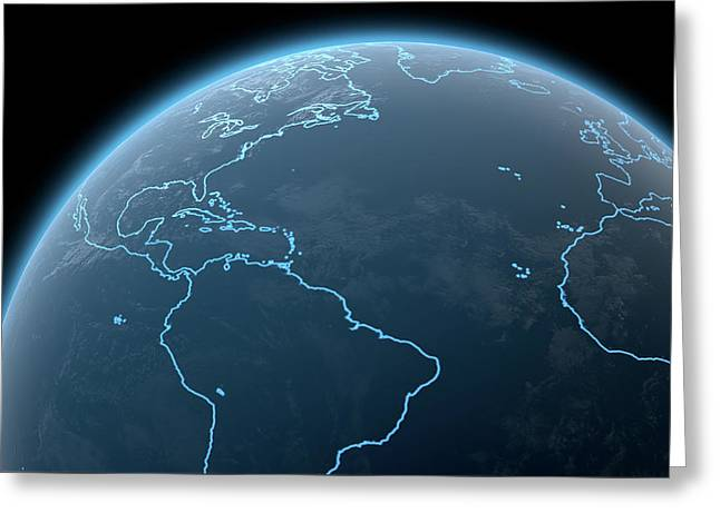 Planet With Illuminated Continents Greeting Card by Allan Swart