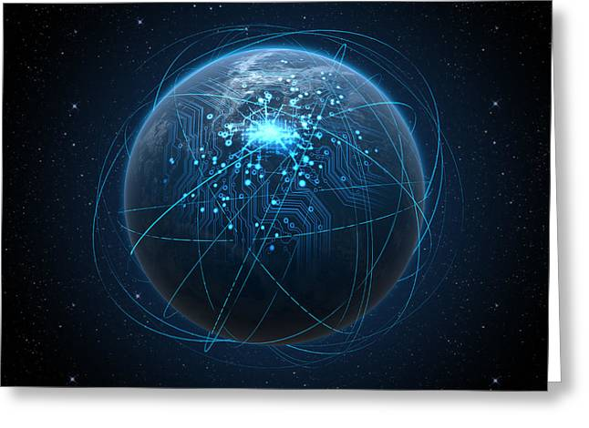 Planet With Illuminated Network And Light Trails Greeting Card