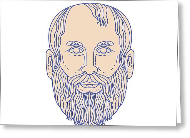 Plato Greek Philosopher Head Mono Line Greeting Card by Aloysius Patrimonio